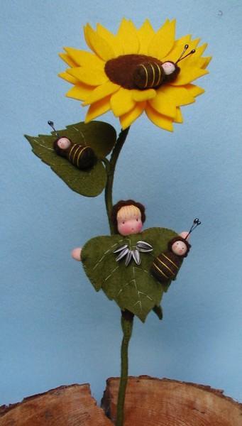 Zonnebloem Met Bijtjes Viltpakketje Het Vrolijke Nest